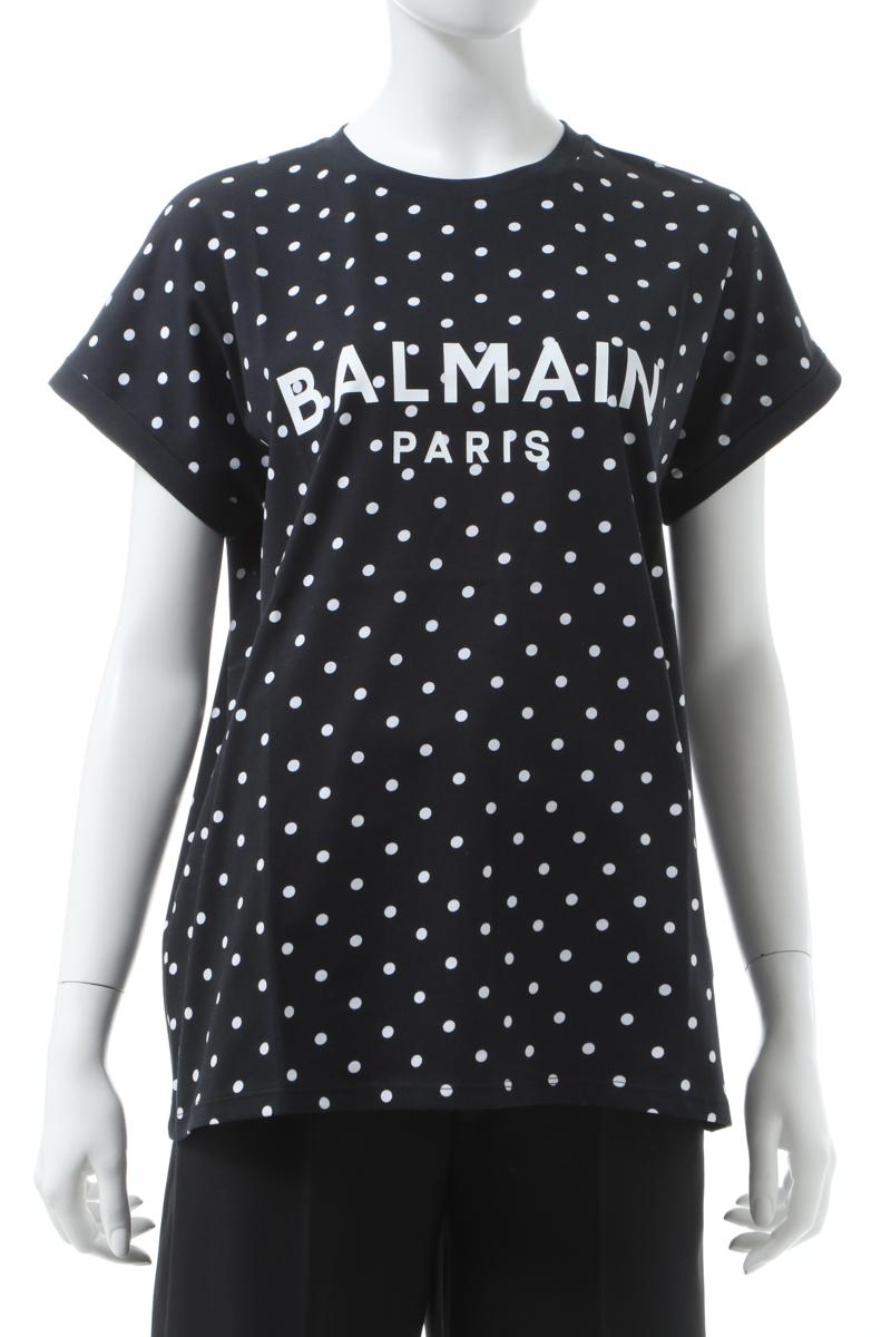 【スーパーSALE 全品10%OFFクーポン配布中】バルマン BALMAIN Tシャツ 半袖 丸首 クルーネック レディース TF11351 I358 ブラック 送料無料 楽ギフ_包装 2020年春夏新作 10%OFFクーポンプレゼント