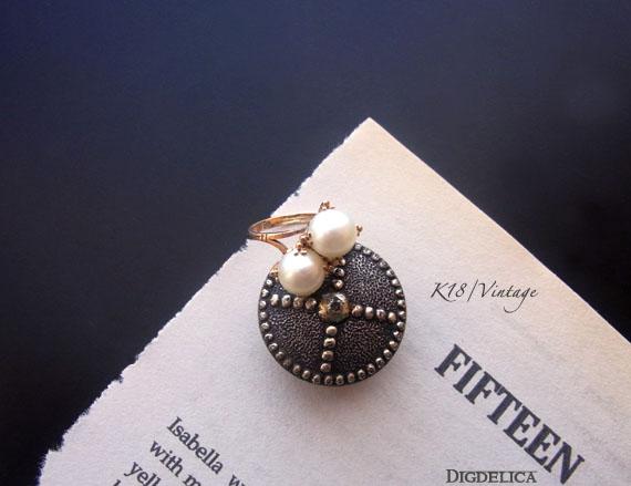 【K18】Twin pearl ring ツインパールリング 指輪 k18ring012【一点物】真珠 18金【DIGDELICA】ディデリカ