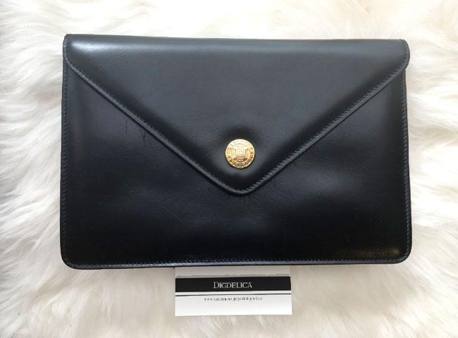 【CELINE】セリーヌ・ヴィンテージレザークラッチバッグ 鞄 革 ブラック 黒 v1149【DIGDELICA】ディデリカ
