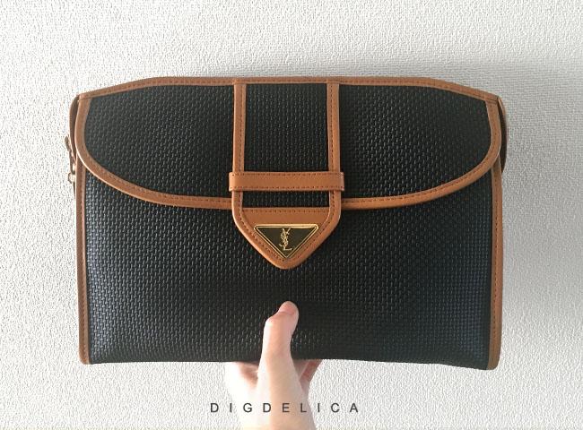 【YvesSaintLaurent】ヴィンテージイヴサンローラン・イブサンローラン・クラッチバッグ YSL Vintage クラッチ BAG ブラック v1235【DIGDELICA】中古品UESD