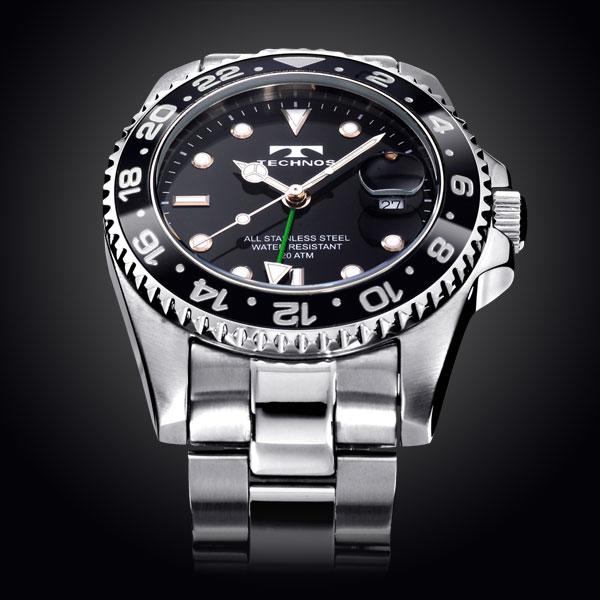 TECHNOS テクノス 腕時計 メンズ 20気圧 日常生活用強化防水 逆回転防止ベゼル ダイバー GMT T2134SB
