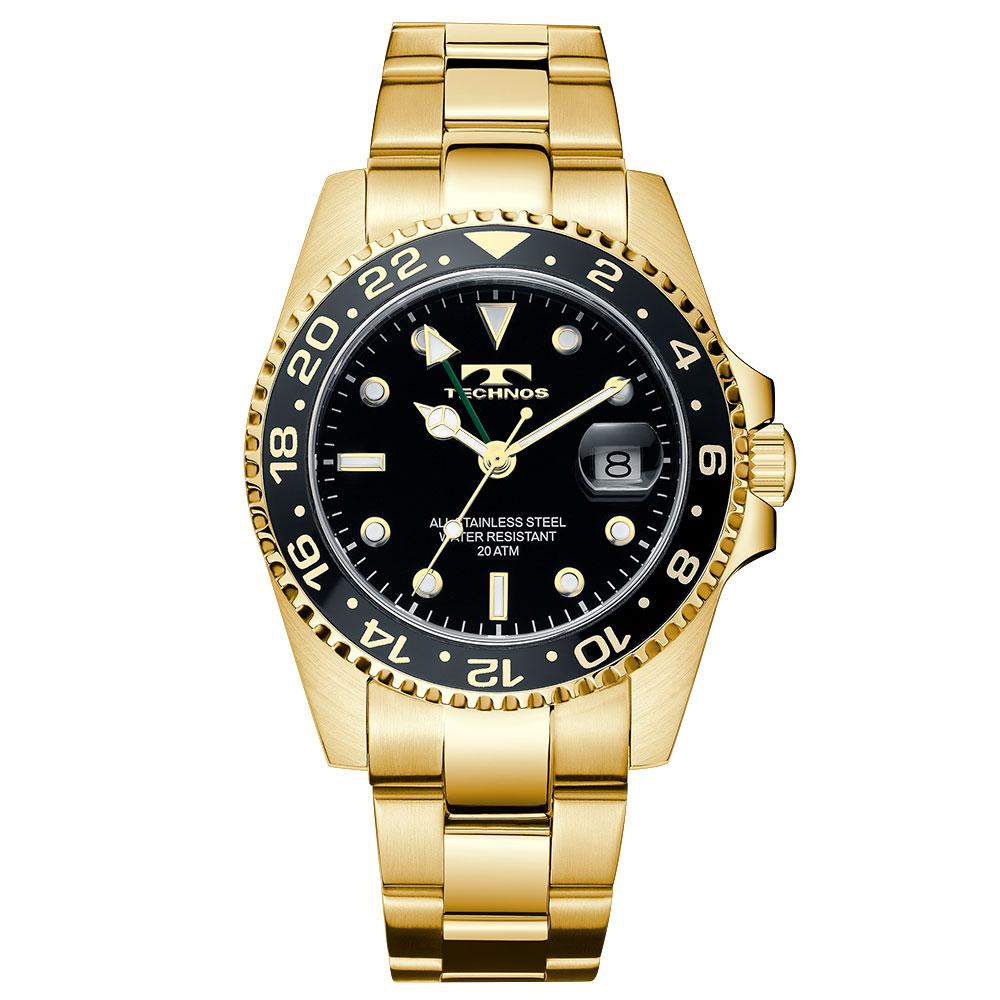 TECHNOS テクノス 逆回転防止ベゼル ダイバーウォッチ ゴールド GMT 限定モデル メンズ 腕時計 T2134GB