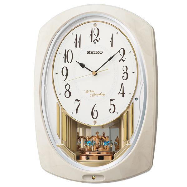 SEIKO セイコー 掛け時計 電波 アナログ トリプルセレクション メロディ 回転飾り アイボリーマーブル模様 AM261A【お取り寄せ】