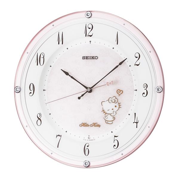 SEIKO セイコー 掛け時計 キャラクター ハローキティ ハイライン 電波 アナログ 薄ピンクパール CS501P【お取り寄せ】