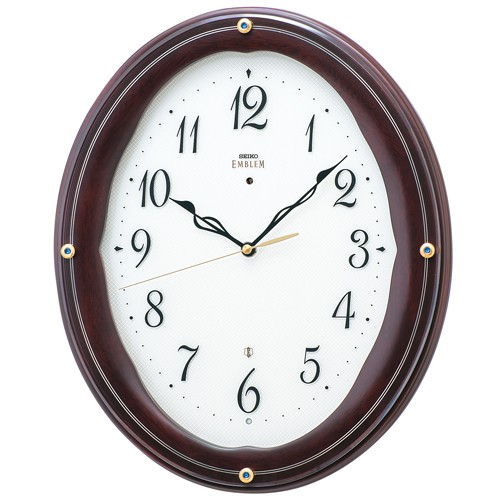 SEIKO セイコー 掛け時計 スタンダード EMBLEM エムブレム カットガラス 木枠 HS552B【お取り寄せ】