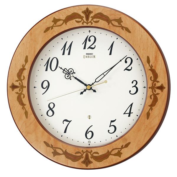 SEIKO セイコー 掛け時計 スタンダード EMBLEM エムブレム 掛け時計 スタンダード 壁掛け 電波 HS557A 木枠 スイープ おしゃれ【お取り寄せ】