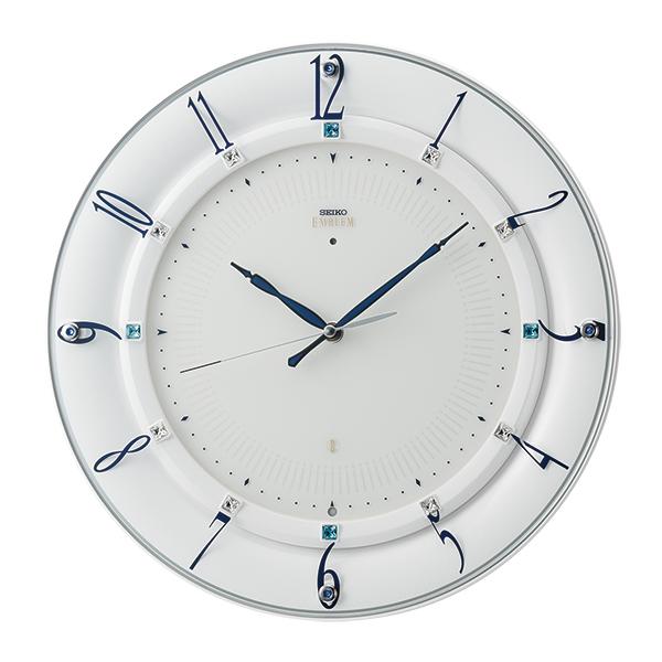 SEIKO セイコー 掛け時計 エムブレム EMBLEM 壁掛け 電波時計 HS559W スイープ スワロフスキー【お取り寄せ】