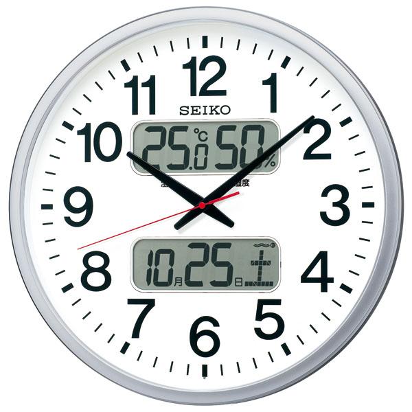 SEIKO セイコー 掛け時計 液晶表示付 オフィス 壁掛け 電波 KX237S 直径50cm カレンダー 温度計 湿度計 集光樹脂文字板 グリーン購入法適合 スイープ おしゃれ【お取り寄せ】