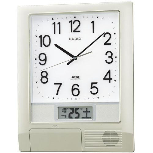 SEIKO セイコー 掛け時計 オフィス 電波 アナログ 報時付 プログラム機能 カレンダー液晶表示 銀色メタリック PT201S【お取り寄せ】