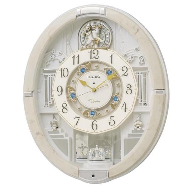 SEIKO セイコー 掛け時計 電波 アナログ からくり トリプルセレクション メロディ 回転飾り アイボリーマーブル模様 RE576A【お取り寄せ】