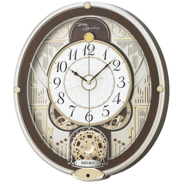SEIKO セイコー 掛け時計 電波 アナログ からくり 6曲メロディ 回転飾り 薄金色パール RE577B【お取り寄せ】