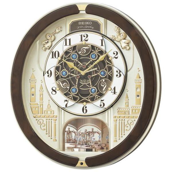 SEIKO セイコー 掛け時計 電波 アナログ からくり トリプルセレクション メロディ 回転飾り 薄金色パール RE579B【お取り寄せ】