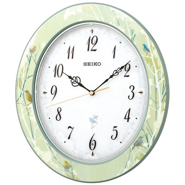 SEIKO セイコー 掛け時計 壁掛け 電波 アナログ 報時付 RX214M 鳥の鳴き声 スイープ おしゃれ【お取り寄せ】