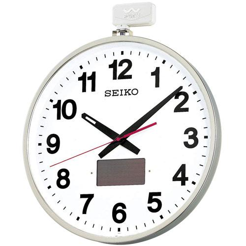SEIKO ソーラー 掛け時計 オフィス 屋外用 大型 電波 527×450×78 金属枠 SF211S【お取り寄せ】