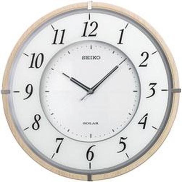 SEIKO セイコー 掛け時計 電波 ソーラー アナログ 薄型 木枠 薄茶木地 SF501B【お取り寄せ】