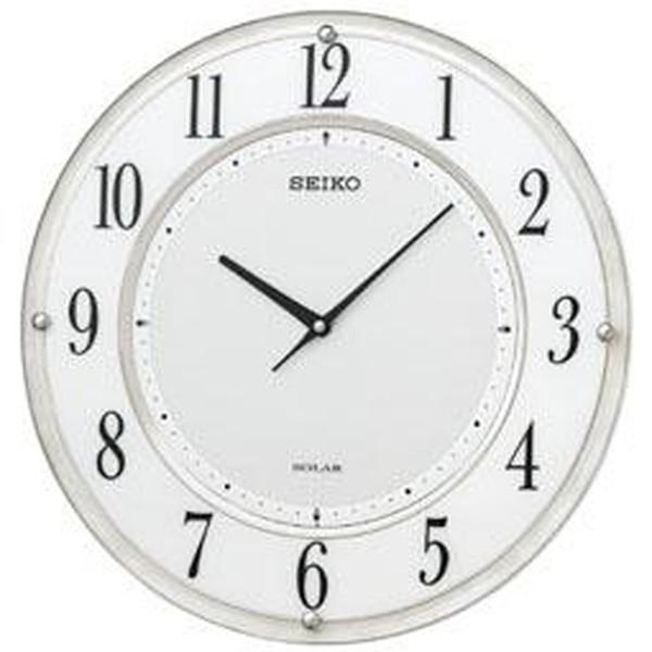 SEIKO セイコー 掛け時計 電波 ソーラー アナログ 薄型 白マーブル模様 SF506W【お取り寄せ】