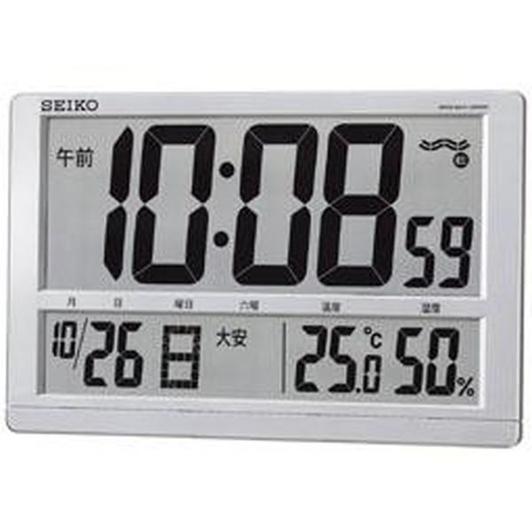 SEIKO セイコー 掛け時計 液晶表示付 オフィス 置き時計 電波 デジタル カレンダー 六曜 温度 湿度表示 大型 銀色メタリック SQ433S【お取り寄せ】