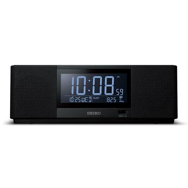 SEIKO セイコー マルチサウンドクロック 目覚まし時計 夜でも見える 暗くても見える 置き時計 SS501K ブラック ブルートゥーススピーカー ラジオ デジタル おしゃれ