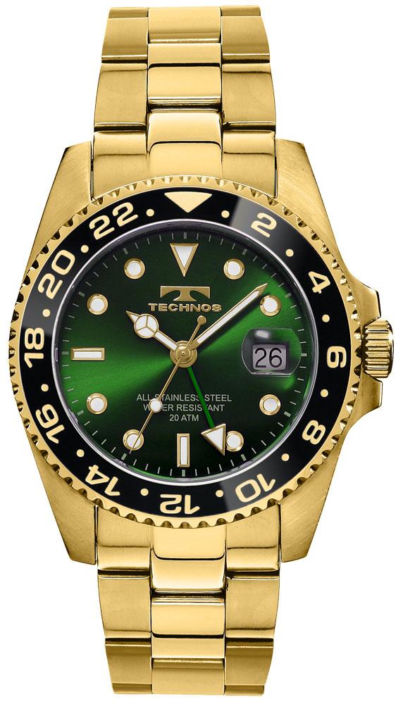 TECHNOS テクノス 逆回転防止ベゼル ダイバーウォッチ ゴールド GMT 限定モデル メンズ 腕時計 T2134GG