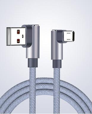送料無料 両面 挿せる L型 マイクロ USB ケーブル MicroB シルバー 1m 2m 3m