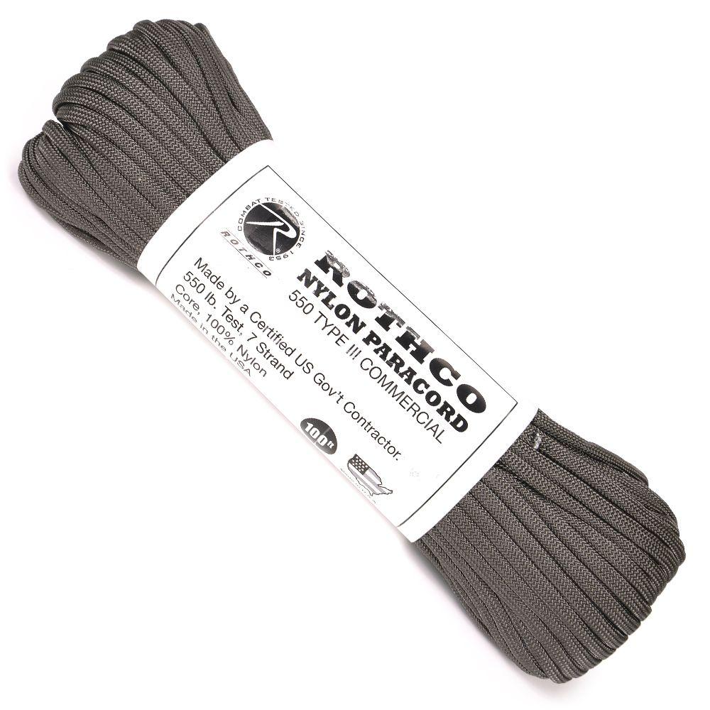 ロスコ社のソリッドカラー550パラコード ROTHCO パラコード タイプ3 チャコールグレー 30m 人気の製品 ロスコ 550パラコード 直送商品 靴紐 シューレース パラシュートコード 靴ひも ロープ 550コード ナイロンコード 綱