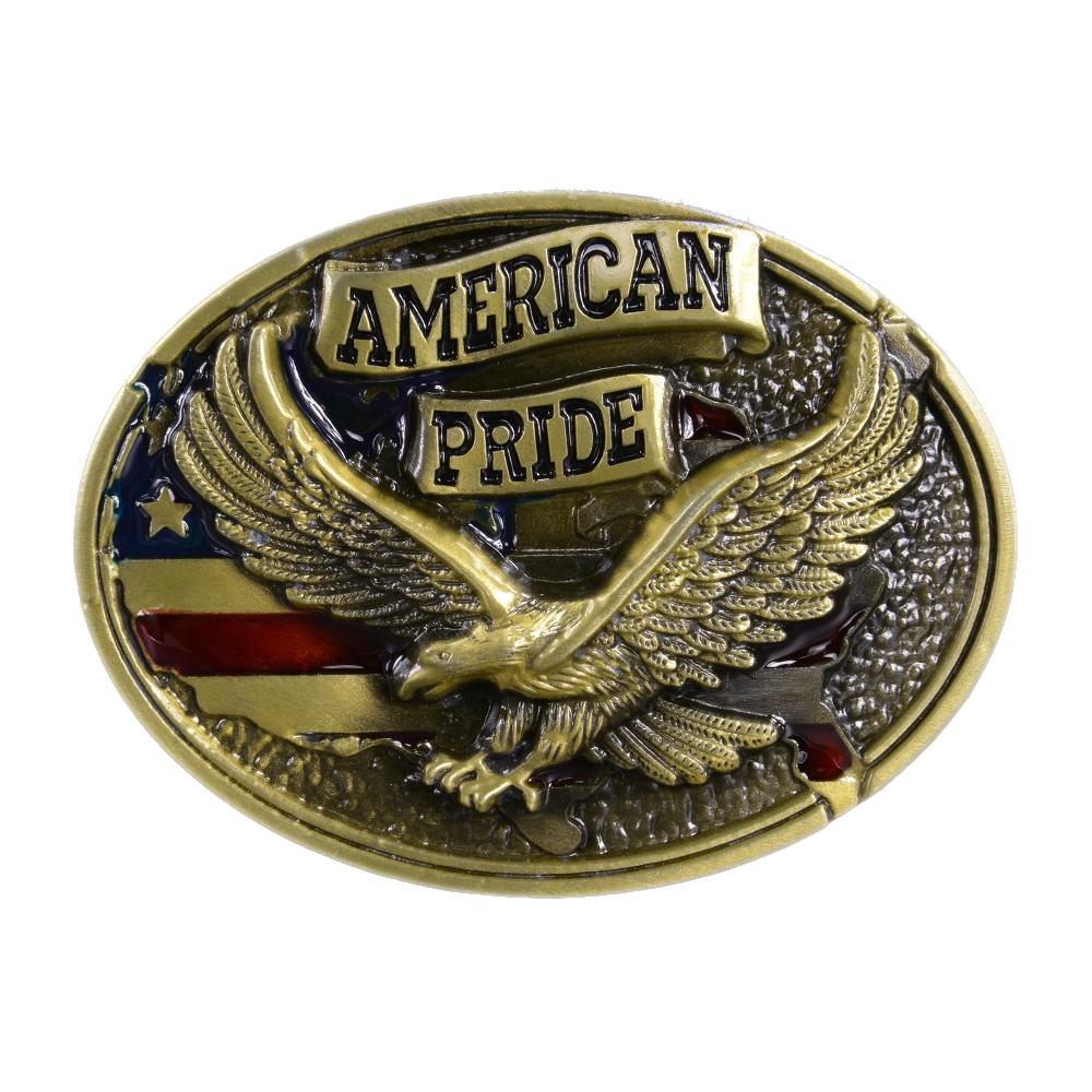 大きく翼を広げたイーグルがデザインされたバックル ベルトバックル イーグル 星条旗 AMERICAN PRIDE 1616 [ ブロンズ ] ベルト用バックル アメリカンバックル USAバックル BUCKLE メンズ 取替え用バックル 鷹 交換用バックル 交換用ベルトバックル