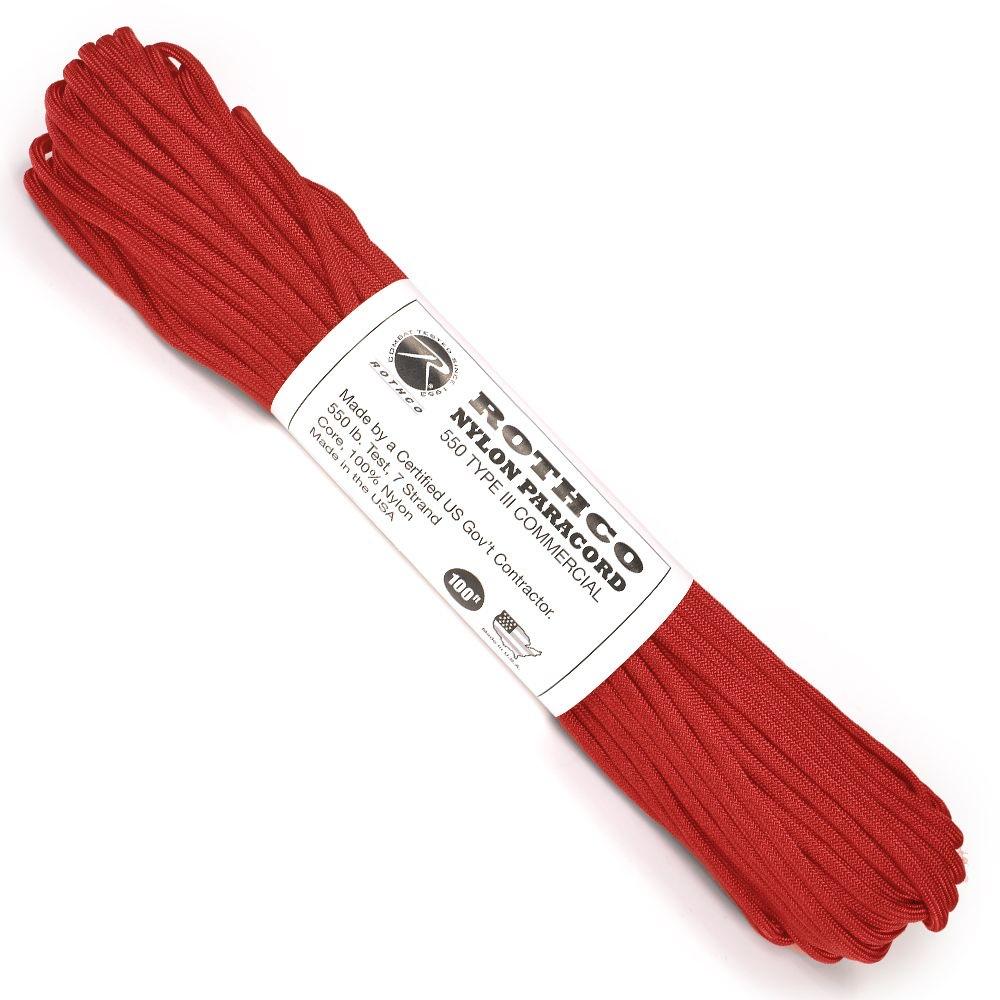 男女ともに幅広く人気の高い赤色のパラコード ROTHCO パラコード タイプ3 レッド 30m ロスコ 550パラコード メーカー公式ショップ 靴ひも 550コード パラシュートコード 最新 ナイロンコード 綱 ロープ 靴紐 シューレース