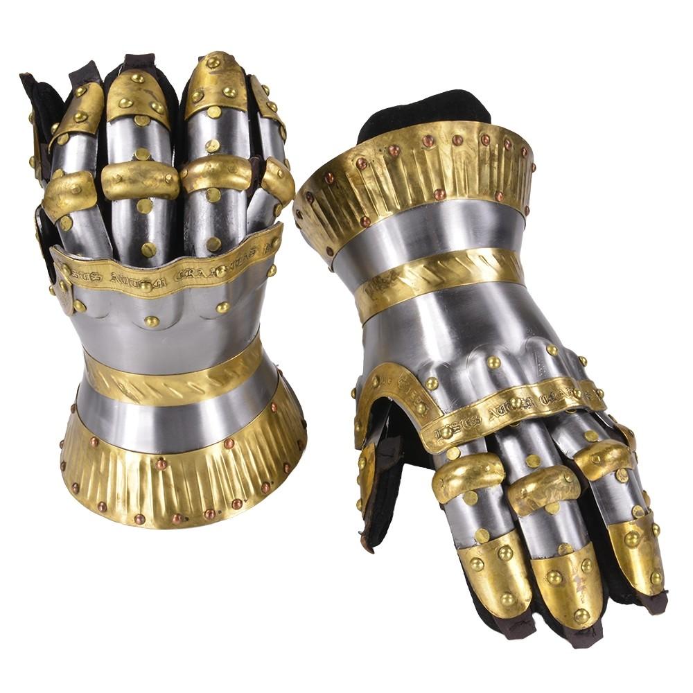 中世 クールブルグ式 ガントレット 真鍮装飾 ゲットドレスフォーバトル GET DRESSED FOR BATTLE 防護 中世防具