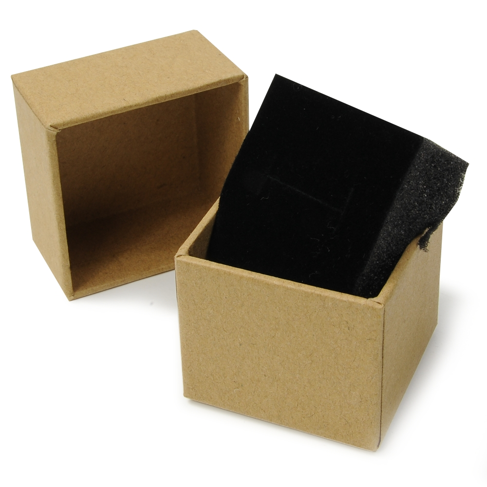 ギフトボックス 貼り箱 5×5×4.2cm アクセサリーケース [ ブラウン ] プレゼントボックス ジュエリーBOX 厚紙 スポンジ付き ラッピング パッケージ 無地 収納