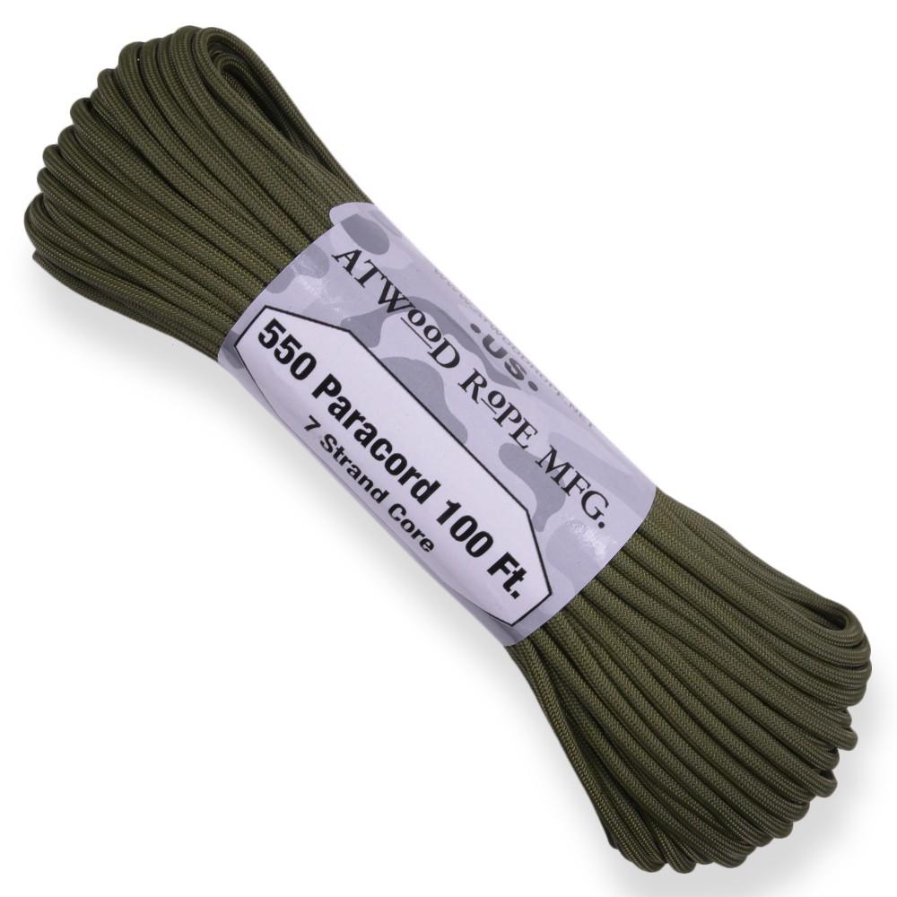 軍用でおなじみのカラー、オリーブドラブの550パラコード ATWOOD ROPE 550パラコード タイプ3 オリーブドラブ アトウッドロープ ARM Olive Drab カーキ 商用 パラシュートコード 綱 靴紐 靴ひも シューレース 防災 550コード ナイロンコード