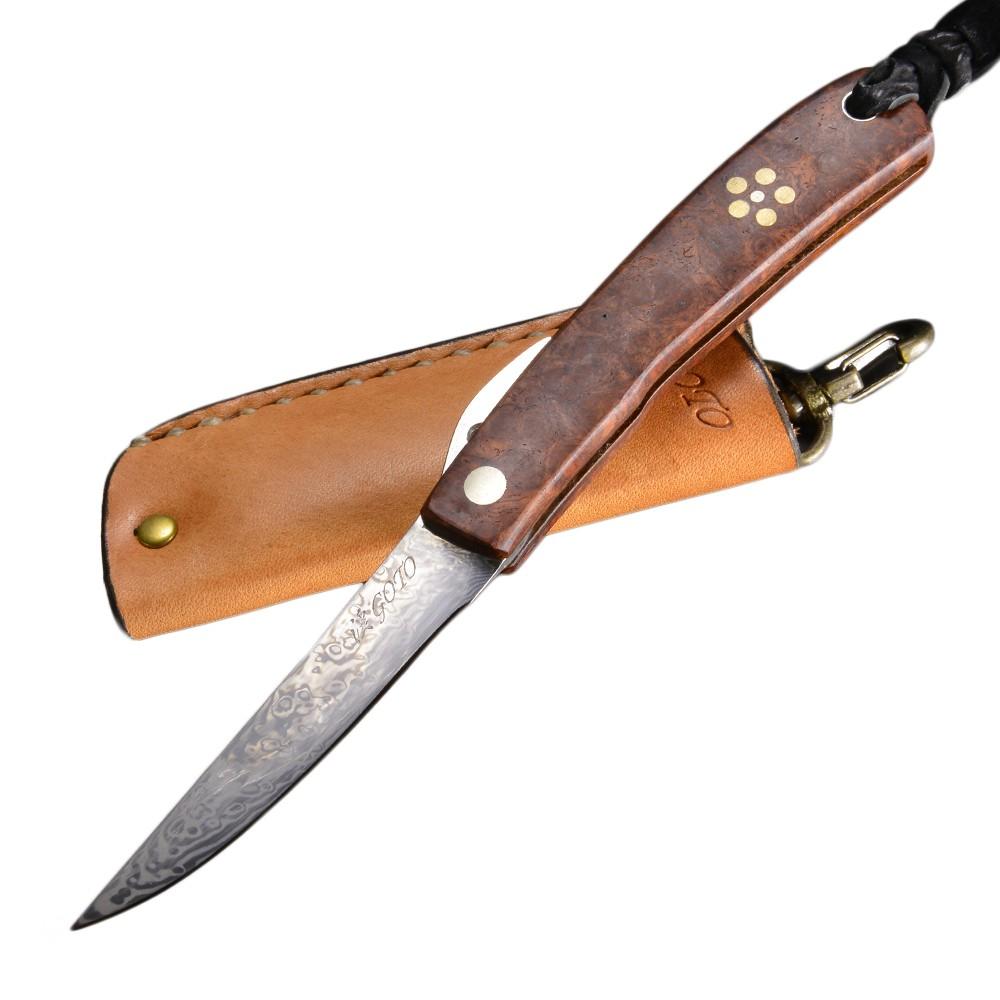 後藤渓 折りたたみ式 カスタムナイフ BF-2 コアレス多層鋼 花梨 梅模様入り 折り畳みナイフ フォルダー フォールディングナイフ ホールディングナイフ