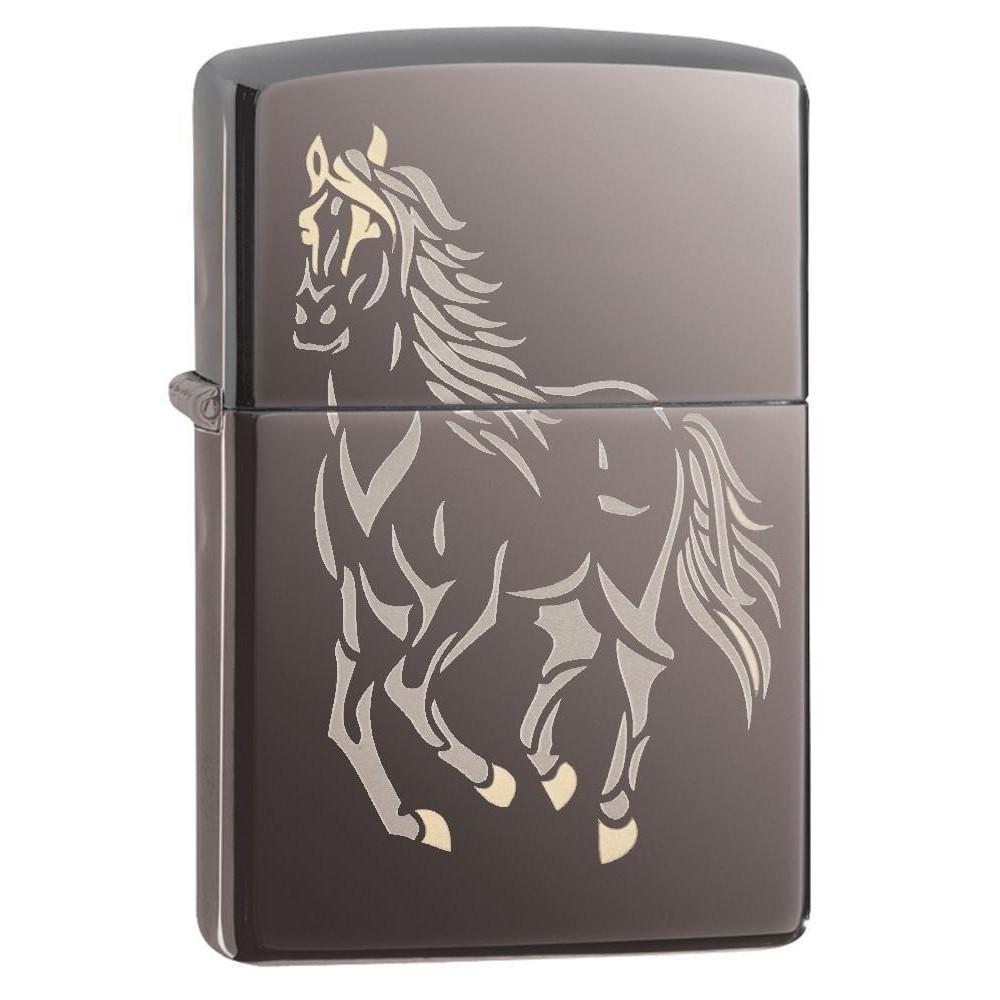 <title>ブラックアイス仕上げにレーザー彫刻の競走馬が映えるZIPPO ZIPPO 競走馬 28645 ブラックアイス 鏡面仕上 ジッポー オイルライター 無料サンプルOK Running Horse Black Ice レーザー</title>
