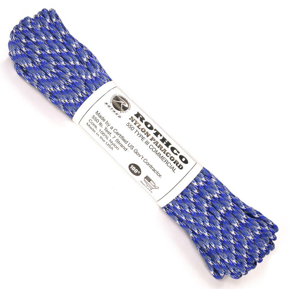 ロスコ社のカモフラージュデザイン、550パラコード。 ROTHCO パラコード タイプ3 ブルーカモ 30m ロスコ 550パラコード ロープ パラシュートコード 綱 靴紐 靴ひも シューレース 550コード ナイロンコード