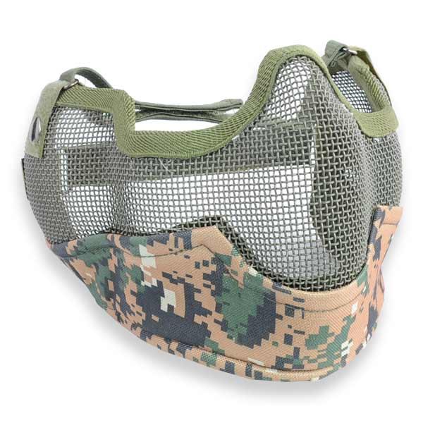 サバゲー時の顔の保護に役立つ、スチールメッシュのハーフフェイスガードメッシュタイプとなっているので息がしやすく、耐久性のあるスチールメッシュを使用しており、丈夫な・・・ ハーフフェイスガード スチールメッシュ [ ウッドランドデジタル ] フェイスマスク フルフェイスマスク フェイスガード サバゲー装備 ミリタリーグッズ サバイバルゲーム 保護面