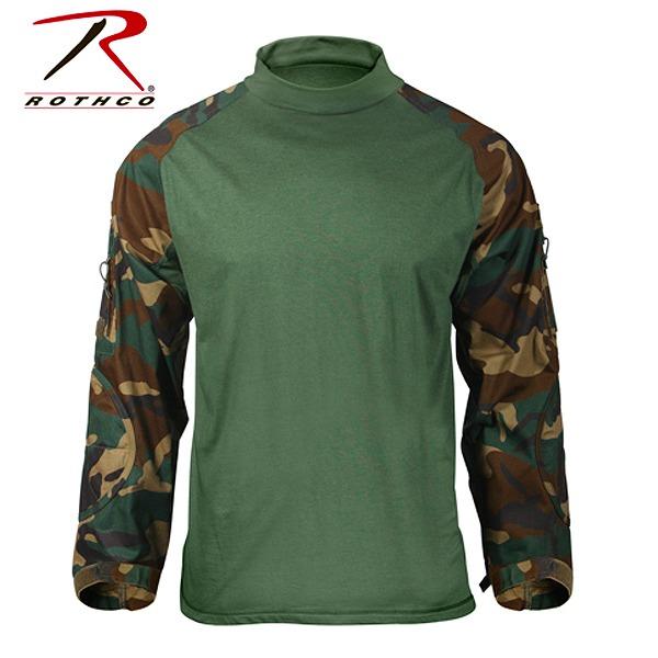 Rothco コンバットシャツ ウッドランドカモ 90025 [ Mサイズ ] ロングスリーブ 長袖|ロスコ メンズ 防寒着 防寒装備