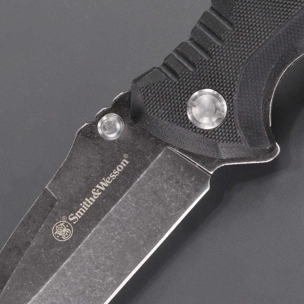 S&W 折りたたみナイフ タントー SW603 直刃 ブラック ストーンウォッシュ仕上 スミス&ウェッソン Smith&Wesson スミスアンドウェッソン ライナーロック式 折り畳みナイフ フォルダー フォールディングナイフ ホールディングナイフ