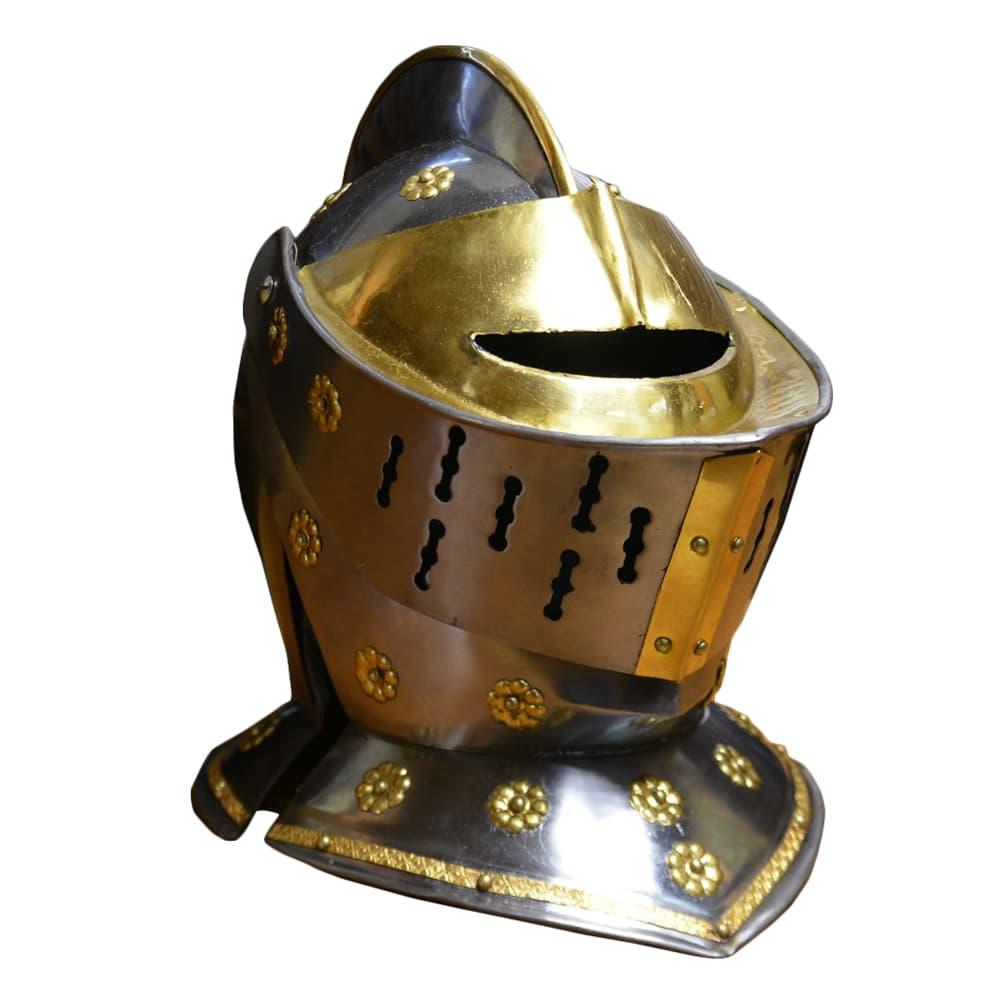 西洋甲冑 防御 中世ヨーロッパ式 騎士 兜 ナイトヘルメット 真鍮装飾タイプ 騎士 防具 ナイトヘルメット 防御, こぶるず:fe4ae27d --- officewill.xsrv.jp