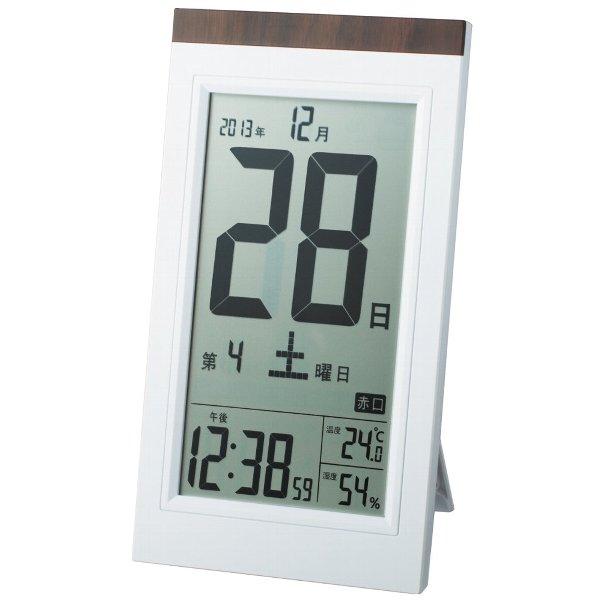 昔ながらの日めくりカレンダー風デジタル電波時計 アデッソ セール価格 置き掛け兼用 デジタル日めくり電波時計 ADESSO ホワイト系 激安 KW9254