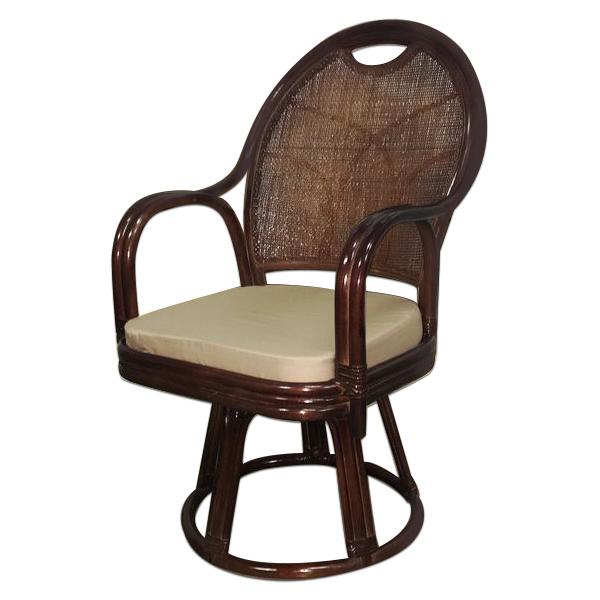 籐製 回転式座椅子 [ハイタイプ] 【送料無料】 籐 回転座イス 回転チェア 軽い 和風 洋風 イス ラタン 座椅子 リラックス インテリア