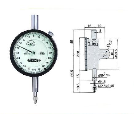 メ-カ- ブランド :INSIZE インサイズ 取寄品 通常2~3営業日で発送可 新品未使用 2313-1A ダイヤルゲージ 23131A 送料無料(一部地域を除く) 耳金付き INSIZE 測定範囲0-1mm