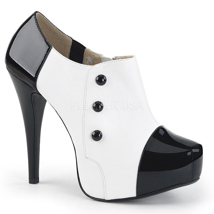 取寄せ靴 送料無料 バイカラー ボタン付き 厚底 アンクル ブーツ 13.5cmヒール 黒 ブラック 白 ホワイト エナメル 大きいサイズあり イベント 仮装 女装 男装 パーティ- ハロウィン コスプレ