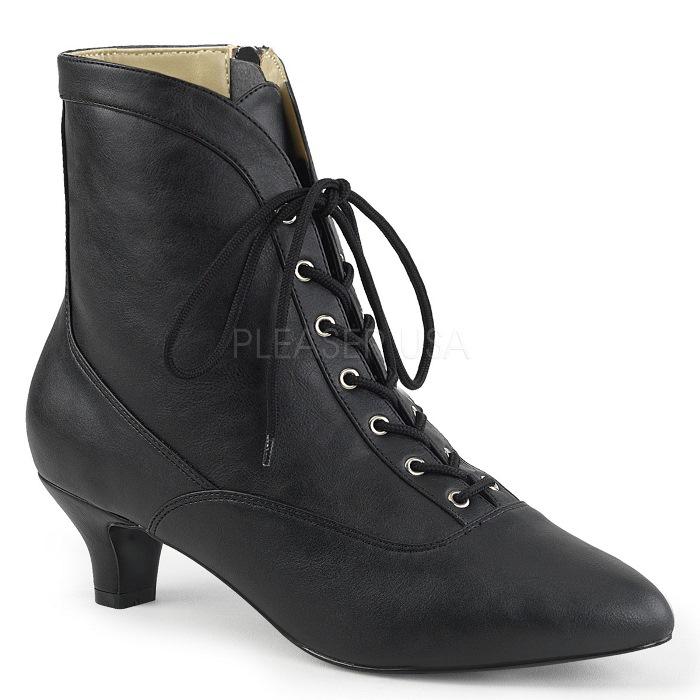 取寄せ靴 送料無料 レースアップ アンクル ブーツ 5cmキトゥンヒール ジッパー付き 黒 ブラック フェイクレザー 大きいサイズあり イベント 仮装 女装 男装 パーティ- ハロウィン コスプレ