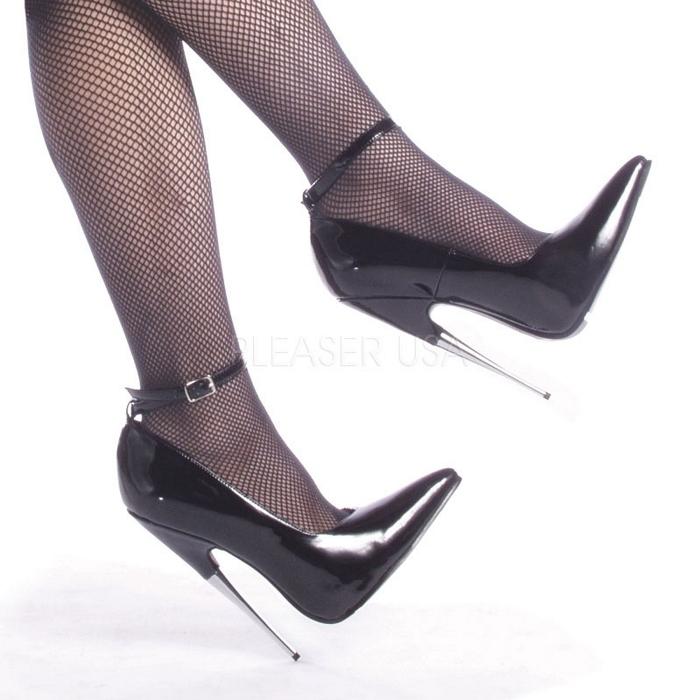 取寄せ靴 送料無料 衣装靴 ポインテッドトゥ アンクルベルト付き ハイヒールパンプス 15cmメタルピンヒール 黒ブラックエナメル DEVIOUSデビアス 大きいサイズあり イベント 仮装 女装 男装 パーティ- ハロウィン コスプレ