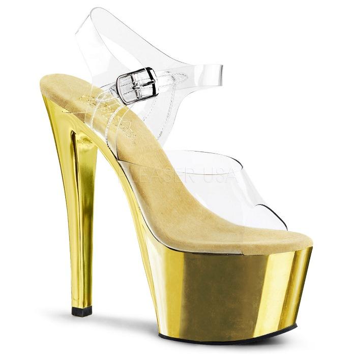 取寄せ靴 送料無料 衣装靴 ベルト付き メタリック厚底サンダル 17.5cmピンヒール クリア金ゴールドクロム Pleaserプリーザー 大きいサイズあり イベント 仮装 女装 男装 パーティ- ハロウィン コスプレ