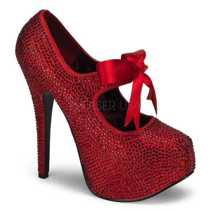 取寄せ靴 送料無料 全面にきらきらラインストーン&かわいいリボン付き 綺麗なフォルム 厚底パンプス 14.5cmピンヒール 赤レッド BORDELLOボルデロ 大きいサイズあり イベント セクシー サンタ 女装 パーティ- クリスマス コスプレ