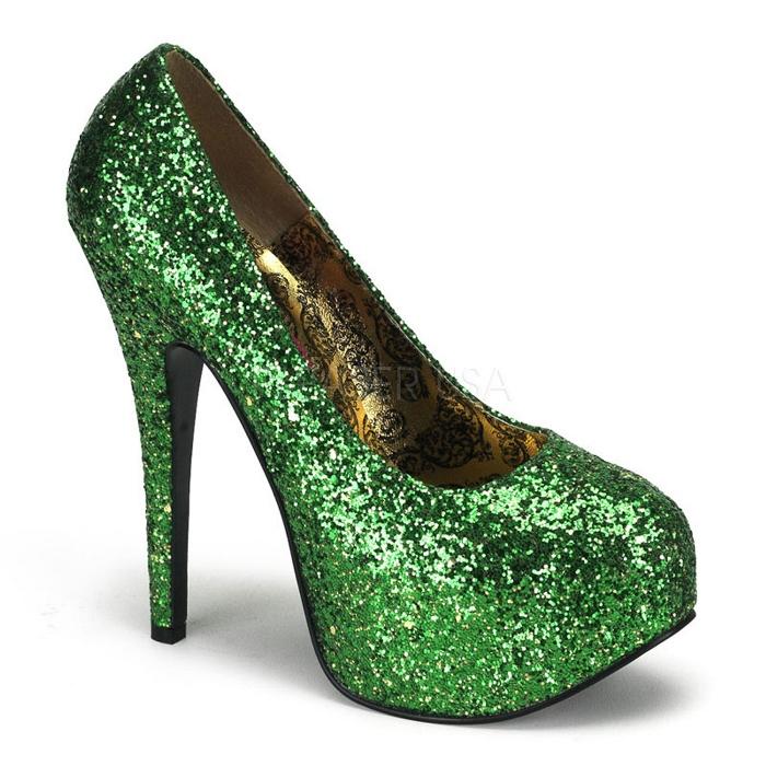 取寄 靴 送料無料 きらきらラメ 綺麗なフォルム 厚底パンプス 14.5cmピンヒール 緑グリーングリッター BORDELLOボルデロ 大きいサイズあり イベント 仮装 女装 男装 パーティ- ハロウィン コスプレ