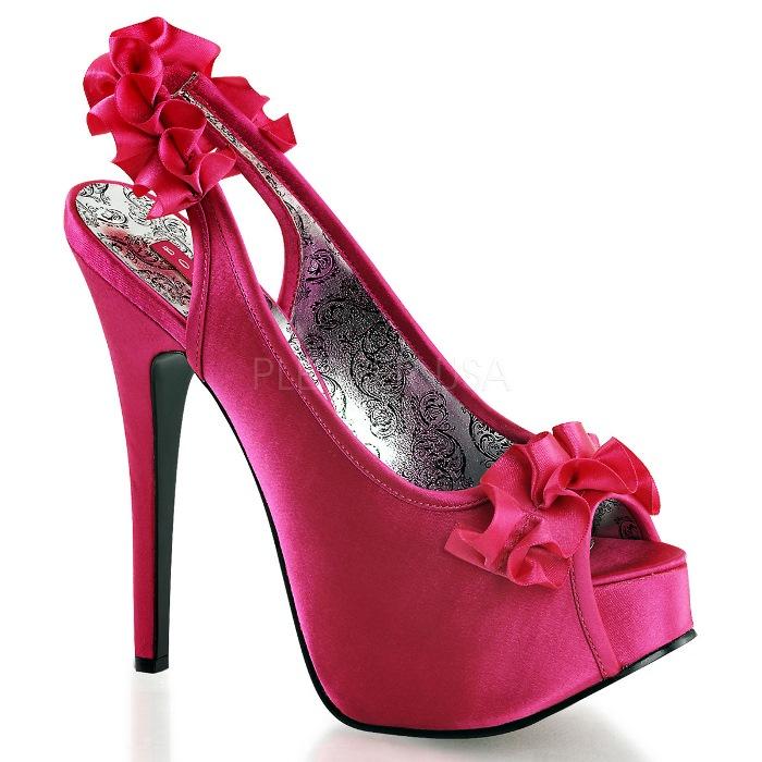 取寄せ靴 送料無料 衣装靴 スリングバック かわいいフリル付き 厚底サンダル 14.5cmヒール 赤紫フューシャサテン BORDELLOボルデロ 大きいサイズあり イベント セクシー サンタ 女装 パーティ- クリスマス コスプレ