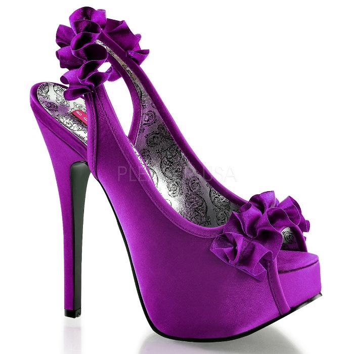 取寄せ靴 送料無料 衣装靴 スリングバック かわいいフリル付き 厚底サンダル 14.5cmヒール 紫パープルサテン BORDELLOボルデロ 大きいサイズあり イベント 仮装 女装 男装 パーティ- ハロウィン コスプレ