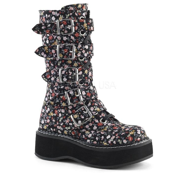 取寄せ靴 DEMONIA デモニア ショートブーツ 約5cm ストーム 厚底ブーツ ラウンドトゥ 複数ベルト バックジッパー ゴスロリ パンク 黒 ブラック 花柄 フローラルファブリック 大きいサイズあり 23 23.5 24 24.5 25 25.5 26 26.5 27 27.5 28 28.5 29cm センチ