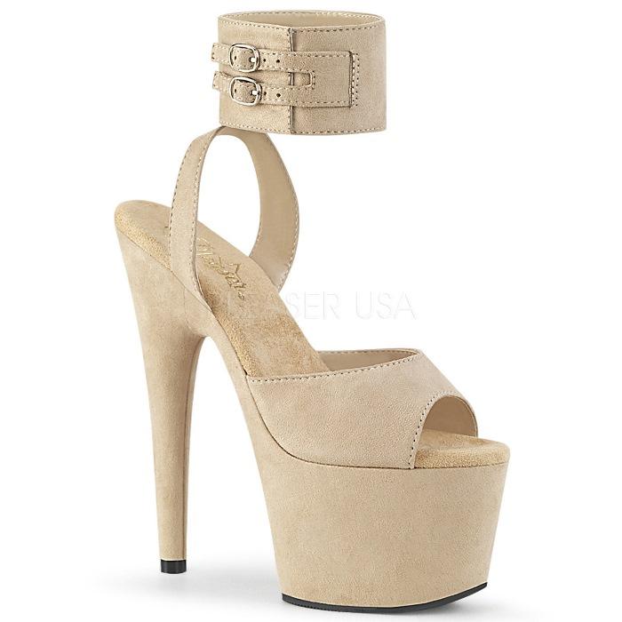 取寄せ靴 PLEASER プリーザー サンダル 18cm ヒール ベージュ 大きいサイズあり 21.5 22 22.5 23 23.5 24 24.5 25 25.5 26 cm センチ